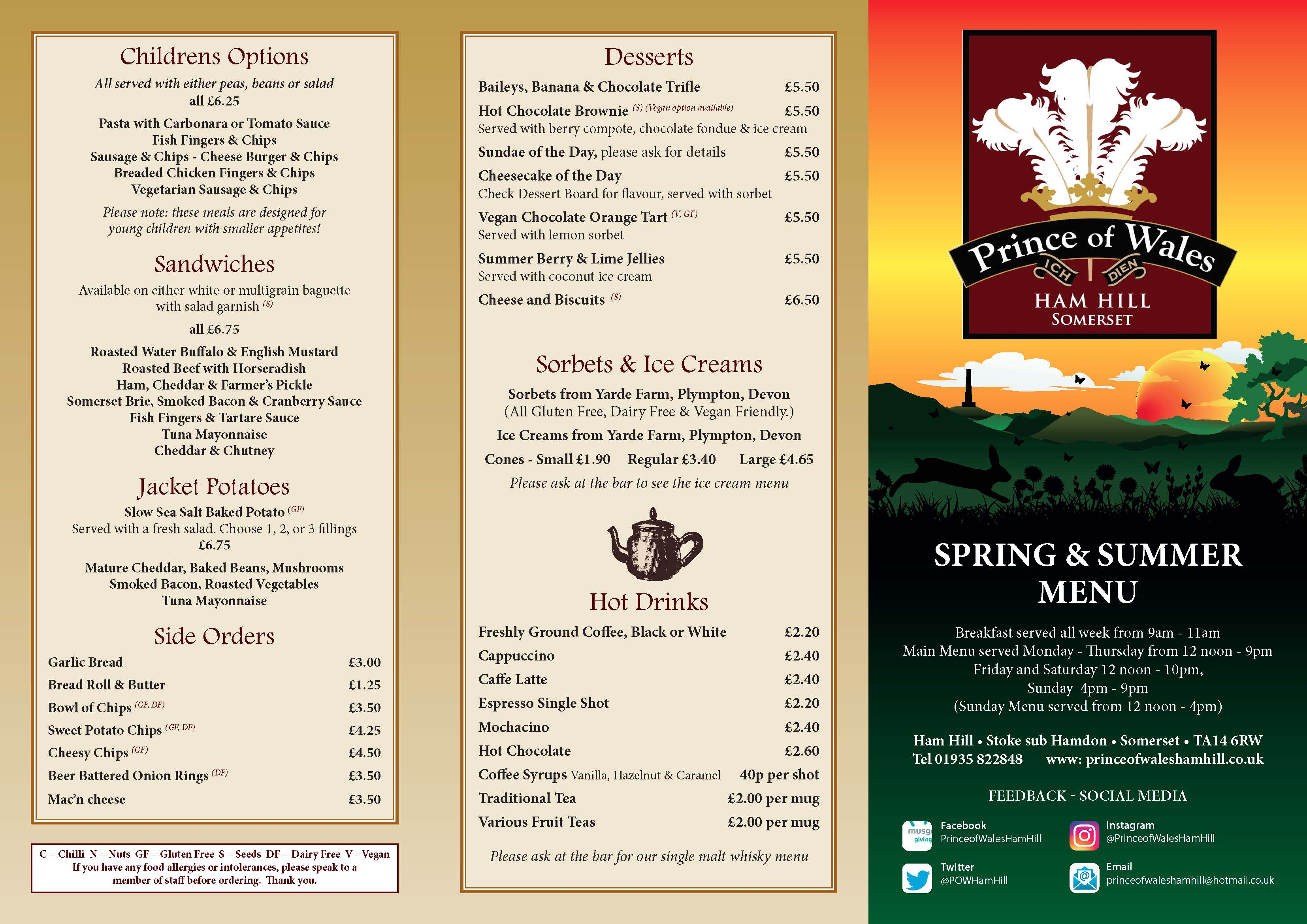 Spring and Summer Menu 2019 – Prince of Wales Ham Hill